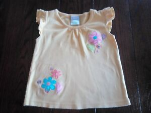 Toddler-Girls-Okie-Dokie-Size-4T-Yellow-Flowers-Short-Sleeve-Shirt-EUC