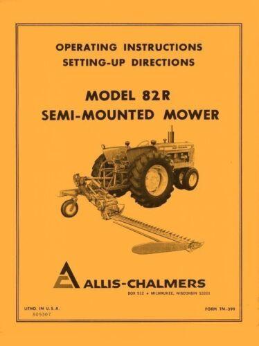 Allis Chalmers Model 82-R 82R Rotary Mower Operators Manual AC