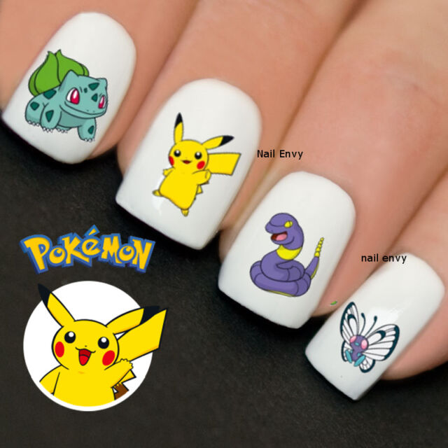 30 X Pokemon Nails Pikachu Nail Art Design Decals Water Transfers