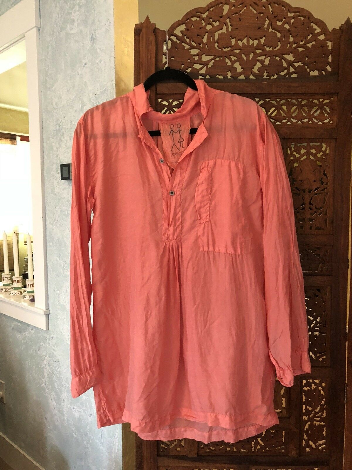 Pete & Greta (Johnny Was) Größe M OverGrößed Button Up Shirt Blouse Rosa