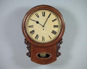 Antique Mahogany Drop Dial Fusee Wall Clock By