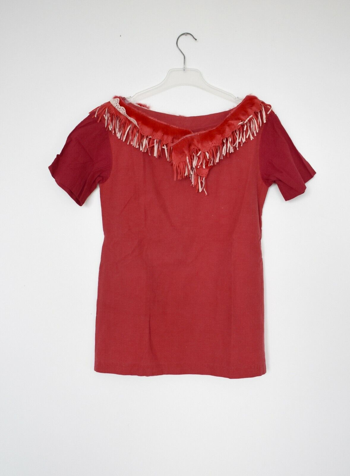 RED TOP fur fringe top MARNI style amazing cotton ausgefallenes top red mit fell
