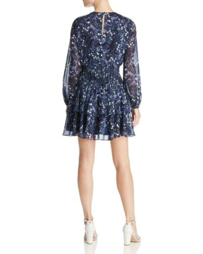 New $319 Bardot Women/'S Blue Floral Tiered Smocked Long Sleeve Dress Size 6//S