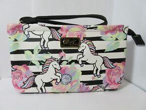 NEW-Luv-Betsey-Johnson-Unicorn-Flower-Striped-Double-Pouch-Wristlet-Wallet-Purse