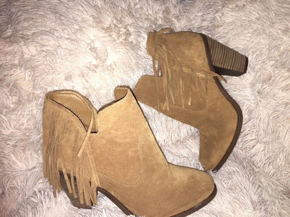Jessica Simpson Cecila fringe Ankle Bootie Honey-Suede sz 9.5 NEU
