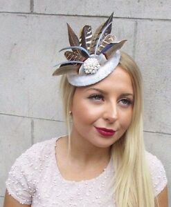 Silver Grey Brown Pheasant Feather Fascinator Hat Headpiece Hair Clip Vtg 2593