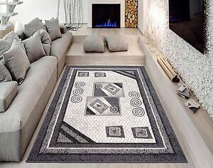 best preis teppich kurzflor teppiche moderne grau 200x300 2x3 ebay. Black Bedroom Furniture Sets. Home Design Ideas