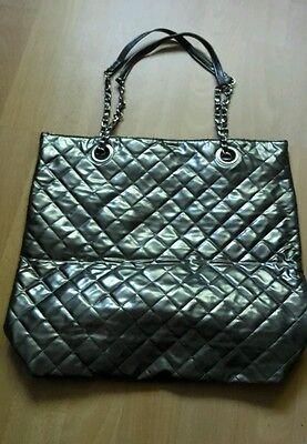 Silber/Graue glänzende große Handtasche Umhängetasche