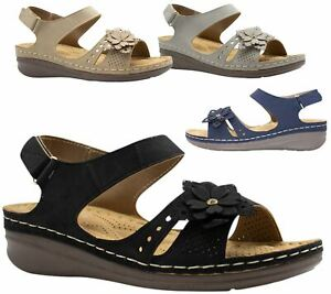 Ladies-Wedge-Heel-Sandal-Womens-Comfort-Cushion-Strapy-Summer-Shoes