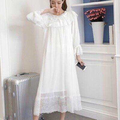 Ladies Girl Lolita Sleepwear Ruffle Lace Nightdress Nightgown Victorian Vintage