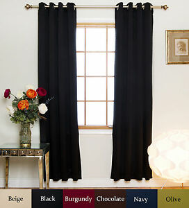 Details About Nickel Grommet Top Insulated Blackout Curtain 96 Inch Length Pair