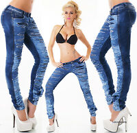 Sexy Womens Skinny jeans dark blue wash ripped jeans trousers uk size 6-14