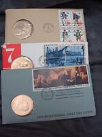 3 US Mint Bicentennial Bronze  Medals 1973, 1975, 1976 1st & Day Cover Stamps