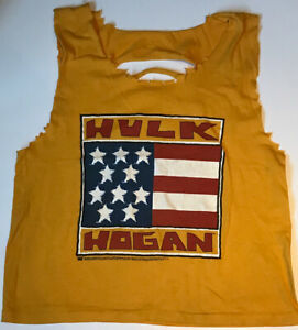 HULK-HOGAN-WWF-WWE-OFFICIAL-RIP-STYLE-TANK-TOP-FROM-1990-039-S-SIZE-BOYS