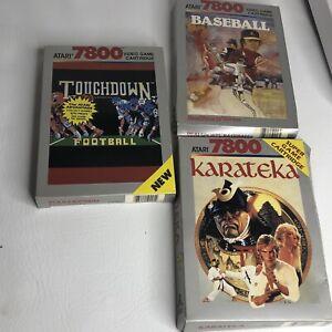 Atari-7800-Lot-Of-3-Games-Cib-Touchdown-Baseball-Karateka-Tested