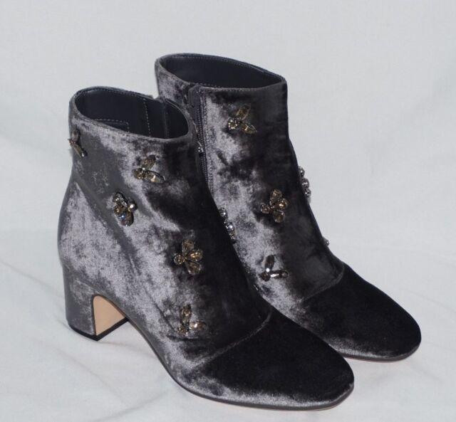 available best sneakers skate shoes AK Anne Klein Women's GLINDA Velvet Ankle Boot DARK GREY 6.5 M Booties NWB