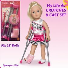 "Girls My Life As CRUTCHES+Leg CAST SET for 18"" AG Our Generation MLA Doll Injury"