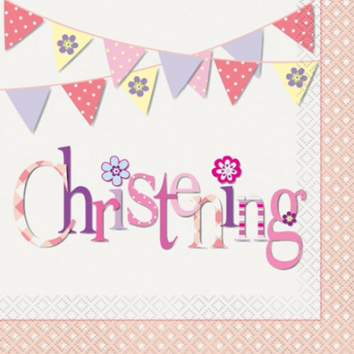 Girls Pink Christening Luncheon Napkins 33cm x 33cm 2ply Pack of 16