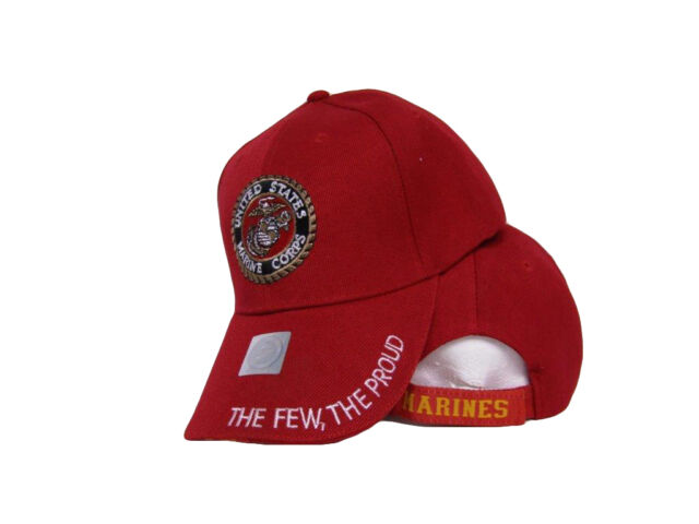 c42c3a224a607 USMC Marines Marine Corps Red The Few Proud White Letter Embroidered Cap Hat