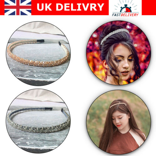 Women Diamond Rhinestone Headband Crystal Hair Band Girl Ladies Head Wear UK