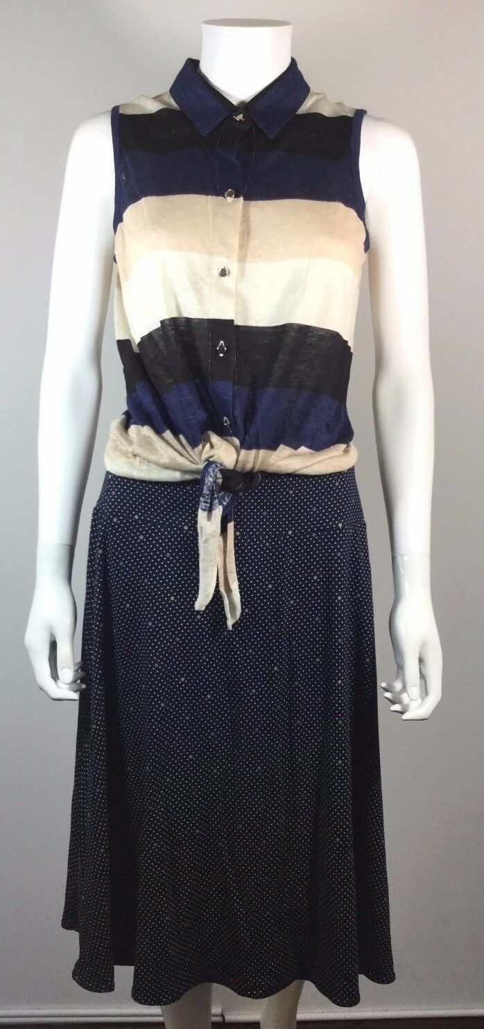 ANN TAYLOR NEW Navy Striped Sleeveless Blouse & Polka Dot Striped Skirt Set S M