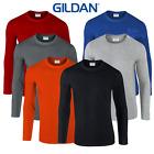 Gildan MEN'S LONG SLEEVE T-SHIRT SOFT COTTON PLAIN TOP SLEEVES CASUAL NEW S-2XL