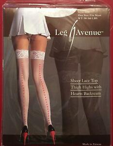 Leg-Avenue-nylon-Hearts-Seamed-Stockings-White-Sheer-Lace-Top