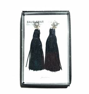 Details about BAUBLEBAR for Bloomingdale's Pearl/Black/Gold Stone Sting  Tassel Drop Earrings