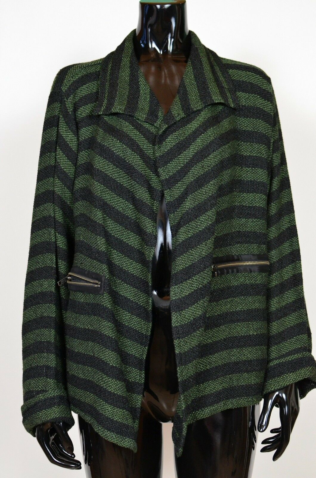 THE MASAI CLOTHING COMPANY Cardigan Striped Knitted Blazer Size XL