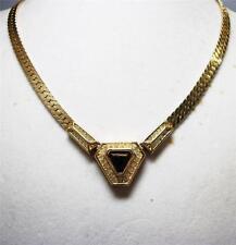 Vintage CHRISTIAN DIOR Polygon Shape Pendant Herringbone Chain Necklace