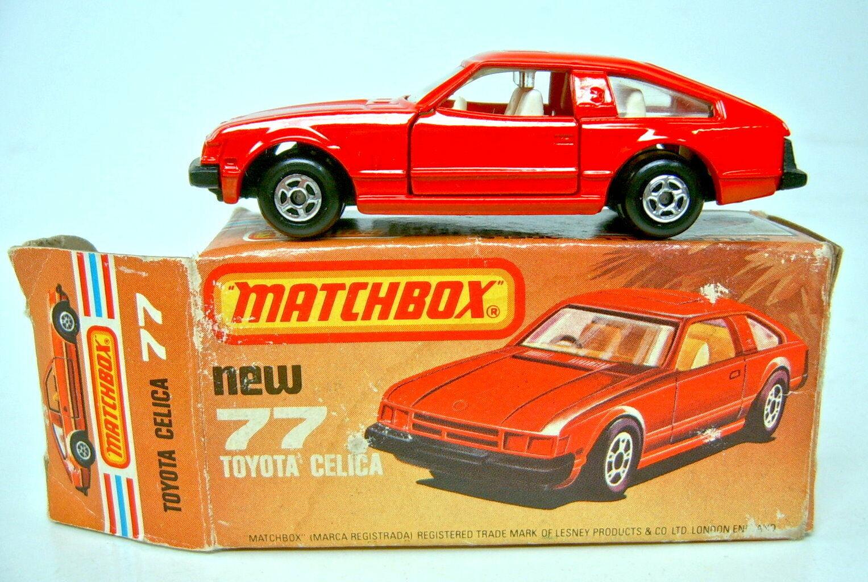 Matchbox SF Nr. 77 Toyota Celica rot schwarze Bpl. rare Australien  L  Box