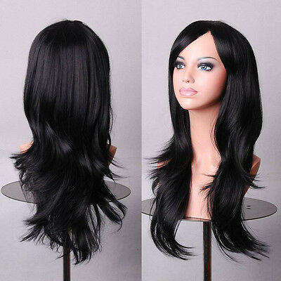Sexy Long New Curly Wavy Straight Full Wig 100% Real Natural Hair Wigs UK SELLER