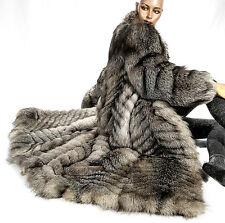 XL SAGA FOX fur coat Silberfuchs Mantel grau Fuchspelz Fuchs Pelzmantel Pelz