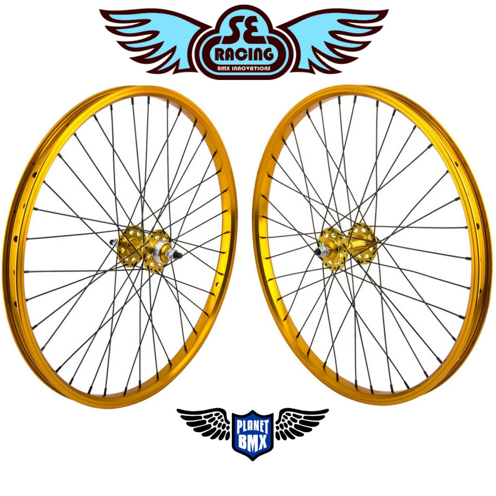 SE Racing 24  x 1.75  BMX sealed bearing WHEELSET pk ripper quadangle gold new