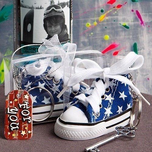 75 Oh-So- Cute Blau Star Turnschuhe Key Chain Baby Boy Shower Birthday Party Favor