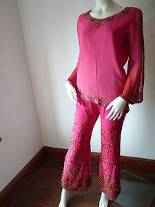 Utile Rose Mariage Asiatique Cerise & Pantalon Costume Rouge Avec Foulard M Ret £ 350 Bnwt-afficher Le Titre D'origine