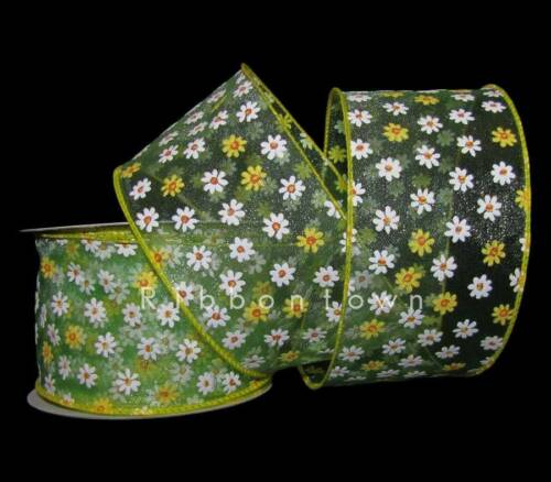 "25 Feet Little White Yellow Daisy Flowers Green Sheer Wired Ribbon 2 1//2/""W"
