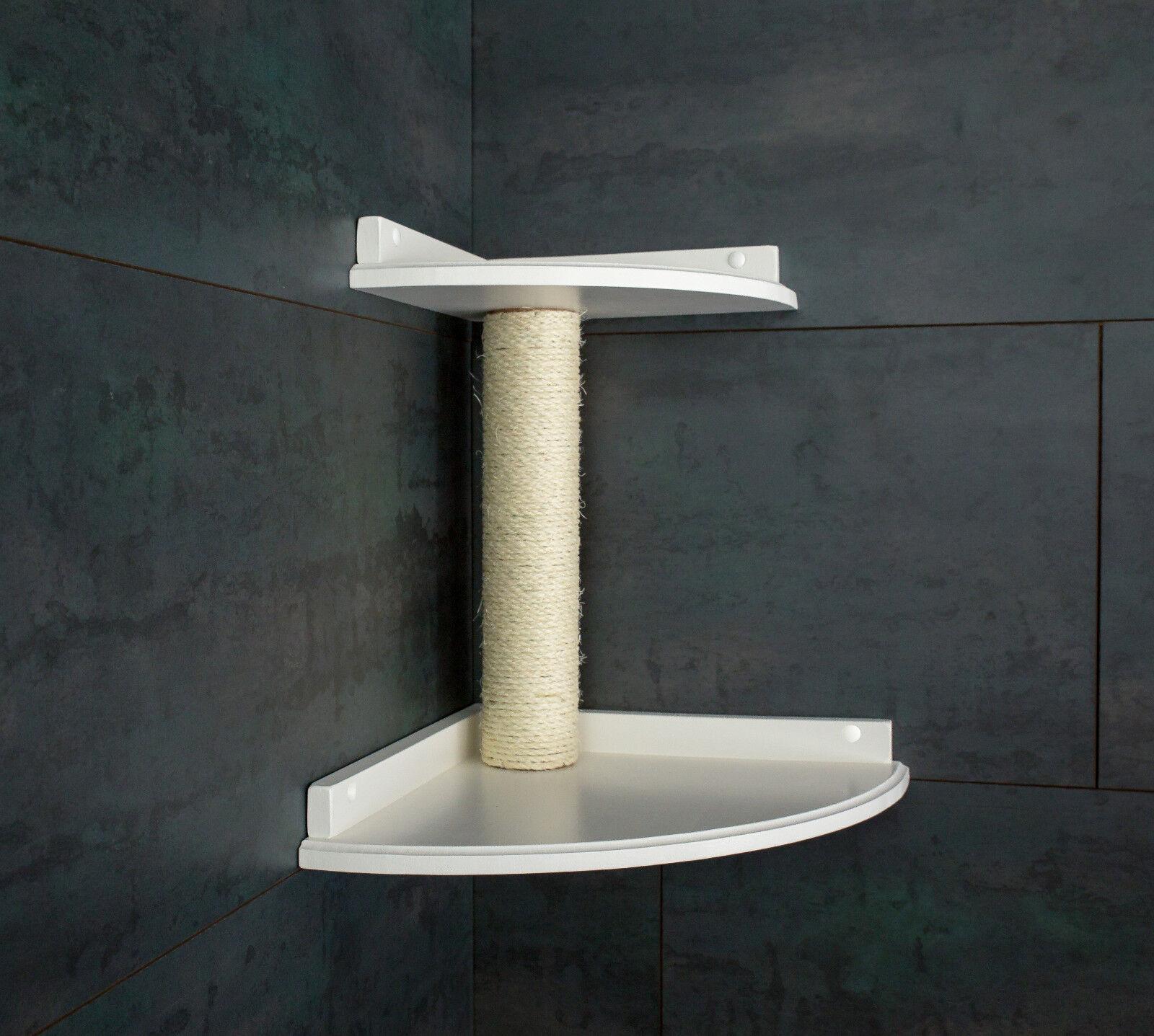 ALBERO tiragraffi albero gatti mobili muro Brett  doppio angolo  BIANCO LACCATO. Sisal radice (2f)