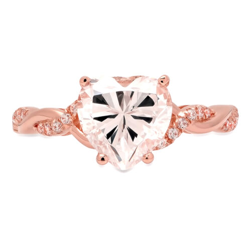 Details about  /2.19CT Heart Classic Engagement Bridal Twisted Solitaire Ring 14k Rose Gold