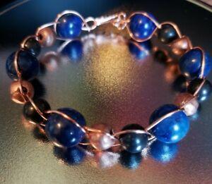 Shungite and Lapis Lazuli Stretch Bracelet Tumbled Beads