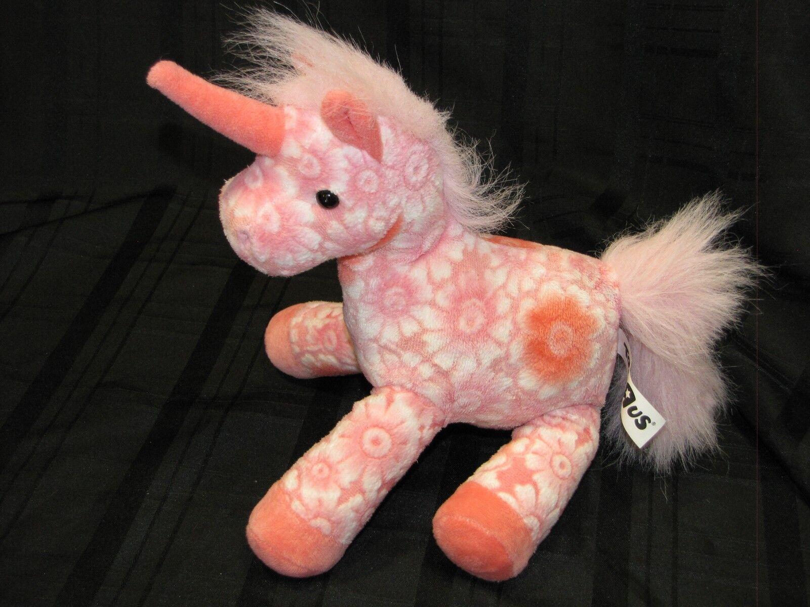 Toys R Us Unicorn Pink Flower Floral Embossed 2012 Plush Stuffed Animal Toy 11