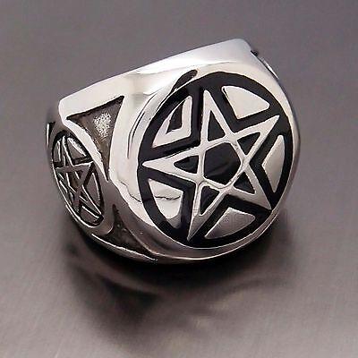 MEN'S Wicca Magic Pentagram Pentacle Star 316L Stainless Steel Biker Ring