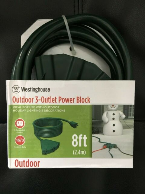 Westinghouse 8 FT  Extension Cords  outdoor 3 Outlet Power block