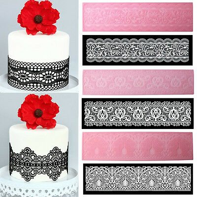 Flower Lace Silicone Fondant Embossed Mold Sugarcraft Cake Decors Moulds T OQ