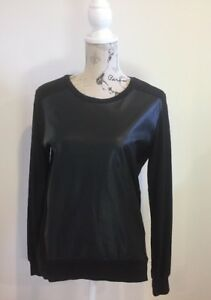 Women-s-Black-PU-Metallic-Front-Jumper-Size-8-Back-amp-Sleeves-Cotton-Blend