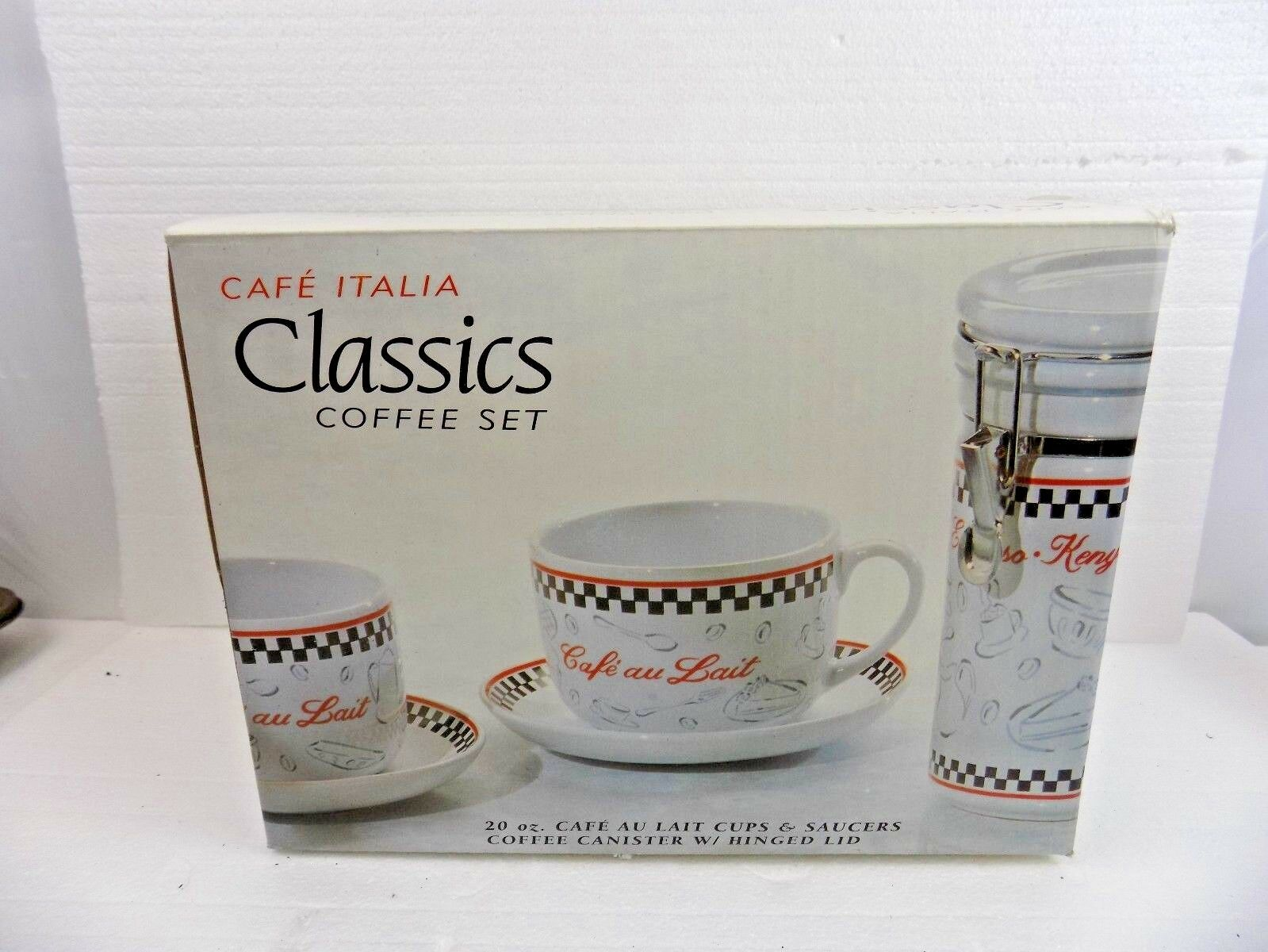 CAFE ITALIA COFFEE SET -TWO -TWO -TWO 20 oz. CAFE AU LAIT CUPS & SAUCERS & COFFEE CANISTER c5735d