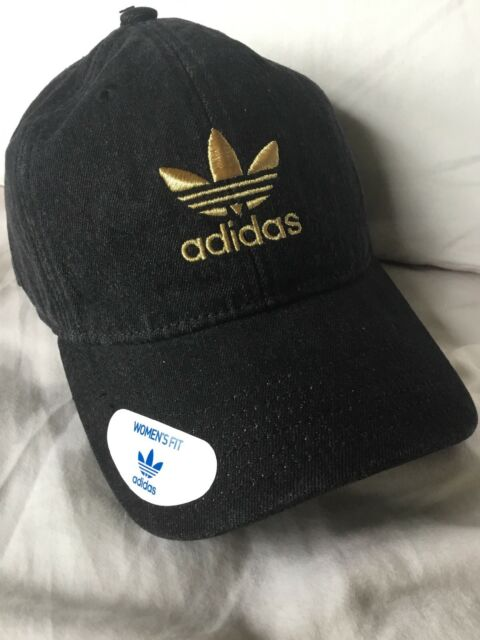 a01fcd3c70c adidas Originals Trefoil Relaxed Cap Hat Black Washed Denim Gold ...