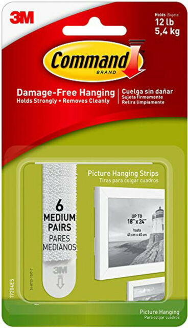 Command Picture Hanging Strips, Indoor Use, Holds 12 lbs (17204ES) BN Sealed