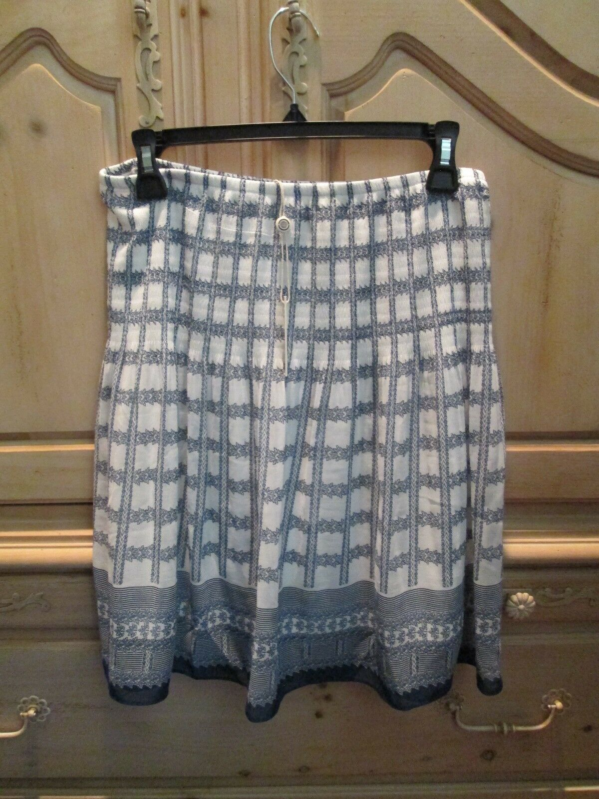 MAX STUDIO blueE WHITE LINED PULL-ON SKIRT POLYESTER CREPE WOMENS SZ M NWT