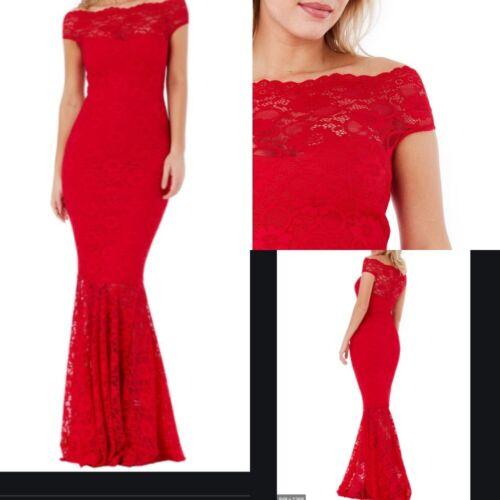 NEW RRP £56.99 Ex City Goddess Red Bardot Lace maxi dress SS27